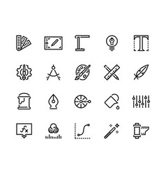 graphic design line icons drawing and art tools vector image