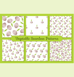 gray garlic flat vegetable seamless pattern set vector image