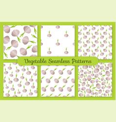 gray garlic flat vegetable seamless pattern set vector image