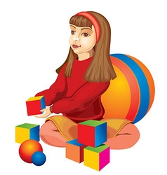 Happy Child Playing with Blocks vector