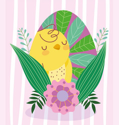 Happy easter cute chicken painting egg with leaves vector