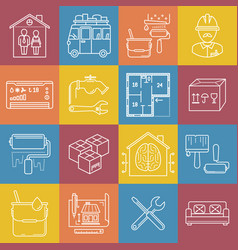 Housing and movement lineart minimal iconset on vector