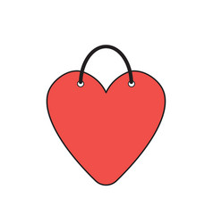 icon concept heart-shaped shopping bag vector image
