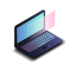 Isometric laptop with blue gradient screen vector