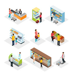 Isometric people in grocery shop set vector