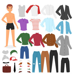 Man clothing boy character dress up clothes vector