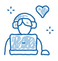 Man in headphones doodle icon hand drawn vector