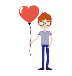 Man with mustache and heart balloon in the hand vector