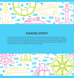 Marine banner or poster template with ships in vector