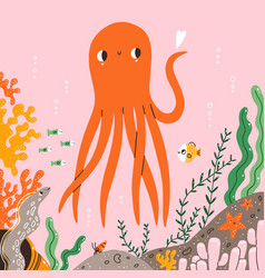 marine life cute octopus fishes and corals vector image