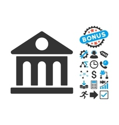 Museum Building Flat Icon with Bonus vector image