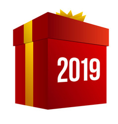 new year shopping big red box vector image