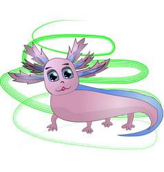 Pink funny axolotl vector