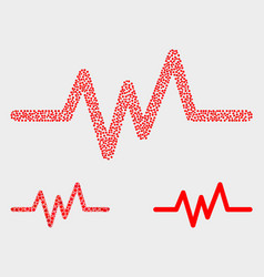 Pixelated pulse signal icons vector