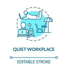 Quiet workplace turquoise concept icon personal vector