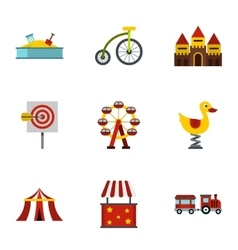Rides icons set flat style vector