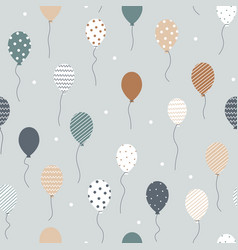Seamless pattern flying balloons with geometric vector