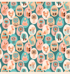 seamless pattern with easter symbols vector image