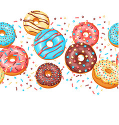 Seamless pattern with glaze donuts and sprinkles vector
