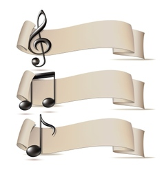 set banners with music icons vector image