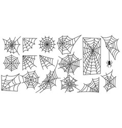 set web silhouettes spider web collection for vector image