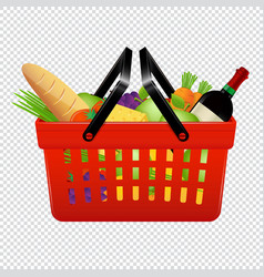 Shopping basket with groceries isolated on vector