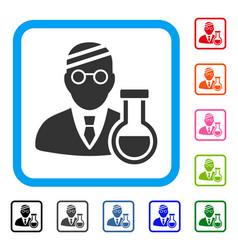 Sick chemist framed icon vector