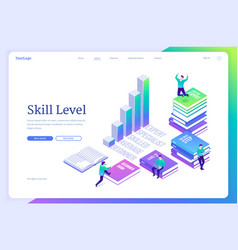 Skill level isometric landing page education vector