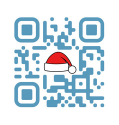 Smartphone readable qr code merry xmas with santa vector