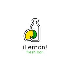 smoothie bar minimalistic logo vector image