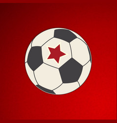 soccer football with red star on red vector image