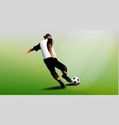soccer player man isolated kick football on vector image
