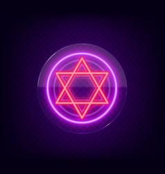 Star david neon sign symbol judaism vector