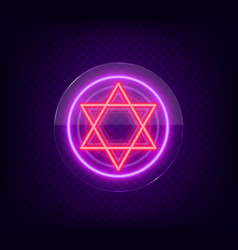 Star of david neon sign the symbol of judaism vector