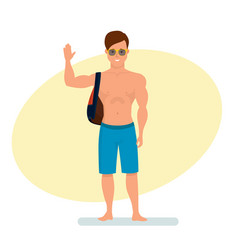 Surfer with backpack on shoulder standing vector