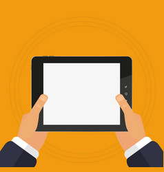 the tablet device is in hands of touch vector image