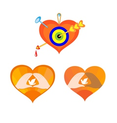 three hearts as elements for design vector image