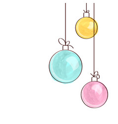 Three watercolor christmas tree ball ornaments vector