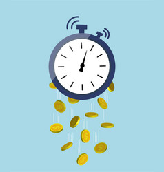 time is money concept clock with dollar golden vector image