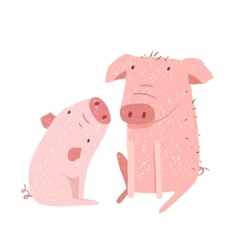 Two Pigs Parent and Child Cartoon vector
