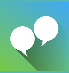 Two speech bubble sign white icon with gray vector