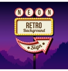 Vintage advertising road billboard with lights vector