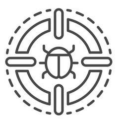 Virus detected icon outline style vector