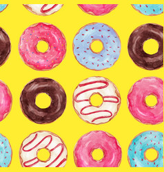 Watercolor tasty donuts pattern vector