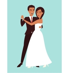 Wedding dance Marriage invitation Flat design vector