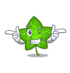 Wink green ivy leaf on character cartoon vector