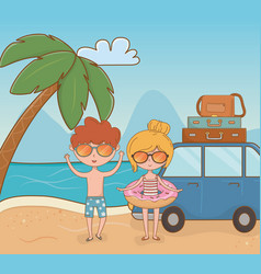 Young couple with car on beach scene vector