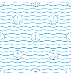 Blue Anchor Seamless Pattern vector image