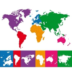Colorful world map vector image vector image