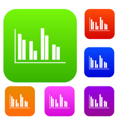 financial analysis chart set collection vector image